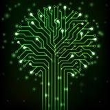 Strömkretsträd med gröna neonljus Arkivbild