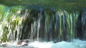 Strömma vatten från vattenfallet som flödar på stenar i floden Bergvattenfall i djungel stock video