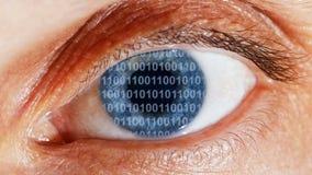 Strömmen av den binära koden i reflexionen för ögon` s stock video