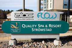 Strömstad SPA. Strömstad,Sweden - 9 April 2011: Quality Spa & Resort Strömstad Sign outside of the resort and hotel building. ABC Asia Bohuslän Royalty Free Stock Image