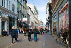 Strøget. Kopenhagen. Denemarken Royalty-vrije Stock Afbeelding