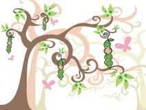 strąki grochu dziewczynko ilustracji