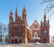 Str. Anne und Bernadines Kirchen in Vilnius lizenzfreie stockfotografie