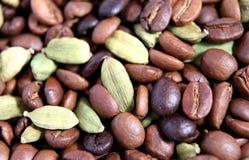 strączki kardamonowi ziaren kawy Obraz Royalty Free