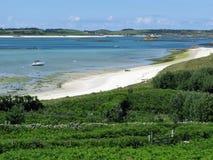 Str. Martins, Inseln Scilly der mittleren Stadt setzen auf den Strand. Stockfotografie