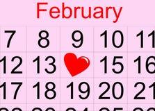 Str. Valentinstagkalender Lizenzfreies Stockbild