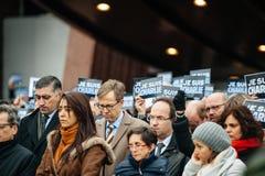 Straßburg hält Mahnwache für die, die in Paris-Angriff getötet werden Lizenzfreie Stockfotos