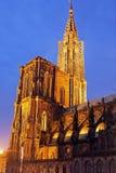 Straßburg-Münster bei Sonnenuntergang Lizenzfreie Stockbilder