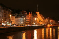 Straßburg nachts Stockbild