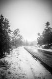 Straße abgedeckt mit Schnee Lizenzfreie Stockfotos