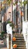 Straße in Alexandria, Virginia auf Halloween Lizenzfreies Stockbild