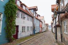 Straße in altem Flensburg, Deutschland Stockfotos