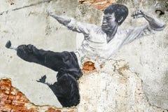 Straße Art Mural Bruce Lee Georgetowns Penang Malaysia Stockfotografie