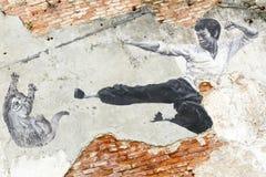 Straße Art Mural Bruce Lee Georgetowns Penang Malaysia Lizenzfreie Stockbilder