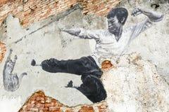 Straße Art Mural Bruce Lee Georgetowns Penang Malaysia Lizenzfreie Stockfotografie