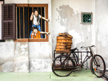 Straße Art Mural in Georgetown, Penang, Malaysia Stockfotos