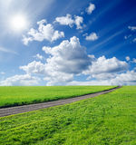 Straße auf dem grünen Gebiet Lizenzfreie Stockbilder