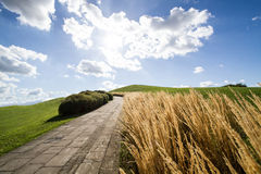 Straße auf einem grünen Hügel Stockfotos