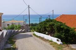 Straße auf Korfu-Insel, Griechenland Lizenzfreie Stockfotografie