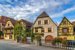 Straße in Bergheim, Elsass, Frankreich Stockbild