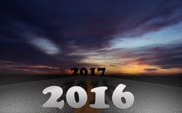 Straße 2016 bis Konzept 2017 Stockfotografie