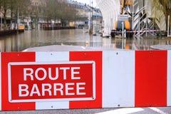 Straße blockierte wegen der Flut in Remich, Luxemburg Stockfotos