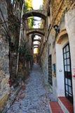 Straße in Bussana Vecchia Stockfotografie