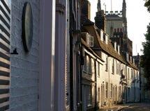 Straße Cambridges, England an der Dämmerung Lizenzfreie Stockfotografie