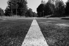 Straße in das Waldschwarzweiss-Foto lizenzfreie stockbilder