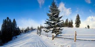 Straße in den Winterbergen Stockfotografie