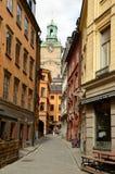 Straße in der alten Stadt stan Bereichs Gamla von Stockholm, Schweden Stockfoto