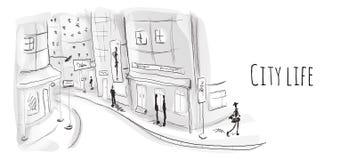 Straße der alten Stadt Vektorillustration in der Skizzenart vektor abbildung