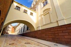 Straße in der alten Stadt von Grudziadz Lizenzfreies Stockfoto
