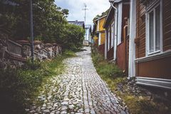 Straße in der alten Stadt von Porvoo Stockfoto