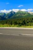 Straße in der grünen Sommerlandschaft von Tatra-Bergen in Zdiar-Dorf, Slowakei Stockbild