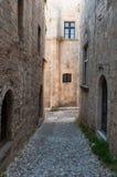 Straße in der medival Stadt von Rhodos Stockbild