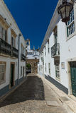 Straße in der Mitte von Faro, Algarve, Portugal Stockfotografie