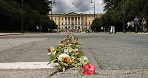 Straße der Rosen in Richtung zum norwegischen Schloss Stockfotografie