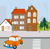Straße der Stadt mit Haus und Straße Stockfotos
