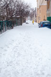 Straße in der Stadt nach Schneesturm Lizenzfreie Stockfotografie