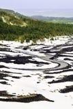 Straße in der vulkanischen Landschaft mit Schnee Lava und Vegetation lizenzfreie stockfotografie