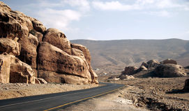 Straße in der Wüste Stockbilder