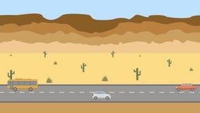 Straße in der Wüste Schleifen-Animationshintergrund 4K der flachen Karikatur panoramischer lizenzfreie abbildung