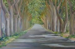 Straße in der Waldmalerei lizenzfreies stockbild