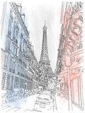 Straße des Paris und des Eiffelturms Stockfotografie