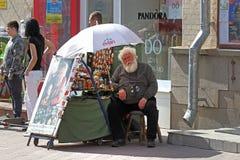 Straße, die Andenken auf dem Arbat in Moskau verkauft Lizenzfreie Stockfotografie