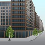 Straße, in die Stadt mit Bürogebäuden und Shops Stockbilder