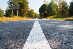 Straße in die Waldfarbe lizenzfreie stockfotos