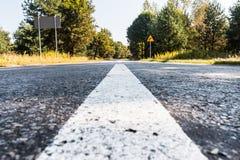 Straße in die Waldfarbe mit Vignette lizenzfreie stockfotos