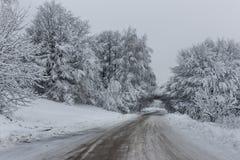 Straße durch den Schnee Lizenzfreie Stockfotos